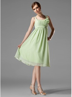 Empire Scoop Neck Knee-Length Chiffon Bridesmaid Dress With Ruffle Flower(s)