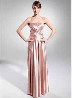 A-Line/Princess Strapless Floor-Length Charmeuse Evening Dress With Ruffle Beading