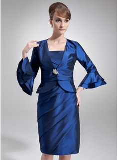 Sheath/Column Square Neckline Knee-Length Taffeta Mother of the Bride Dress With Ruffle Beading