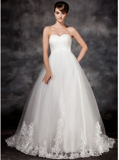 Empire Sweetheart Court Train Satin Tulle Wedding Dress With Lace