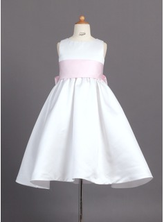 A-Line/Princess Scoop Neck Ankle-Length Satin Flower Girl Dress With Sash (010007314)