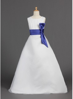 A-Line/Princess Scoop Neck Floor-Length Organza Satin Flower Girl Dress With Sash (010005810)