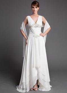 Forme Princesse Col V Traîne asymétrique Mousseline Robe de mère de la mariée avec Dentelle Emperler Sequins Robe à volants