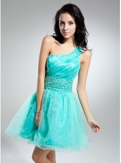 A-Line/Princess One-Shoulder Knee-Length Organza Cocktail Dress With Ruffle Beading (016014918)