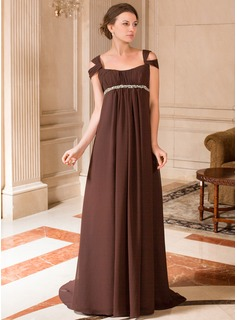 A-Line/Princess V-neck Sweep Train Chiffon Maternity Bridesmaid Dress With Ruffle Beading (008024442)