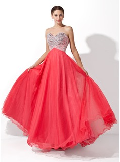 A-Line/Princess Sweetheart Floor-Length Tulle Charmeuse Prom Dress With Beading