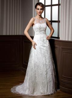 Corte A/Princesa Escote redondo Barrer/Cepillo tren Satén Encaje Vestido de novia con Bordado