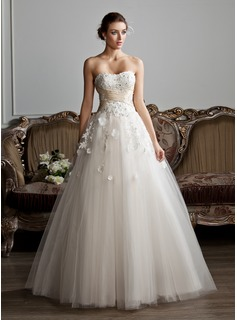 Ball-Gown Sweetheart Floor-Length Tulle Charmeuse Wedding Dress With Ruffle Sash Beading Appliques Flower