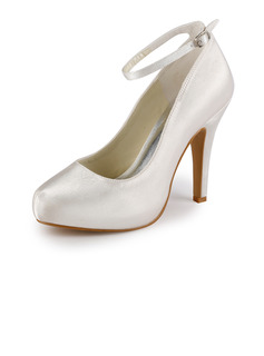 Satin Stiletto Heel Closed Toe Platform Pumps Wedding Shoes With Buckle (047005346)