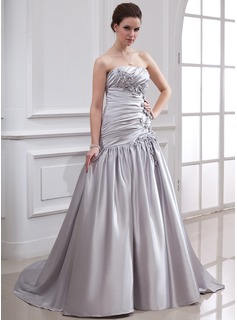 A-Line/Princess Strapless Court Train Charmeuse Wedding Dress With Ruffle Beading Flower(s)