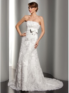 A-Line/Princess Strapless Court Train Satin Lace Wedding Dress With Beadwork Sequins (002012170)