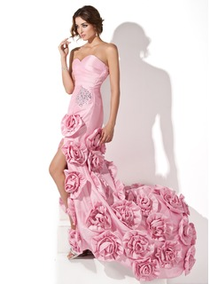 Trumpet/Mermaid Sweetheart Sweep Train Taffeta Prom Dress With Ruffle Beading Flower(s) Split Front
