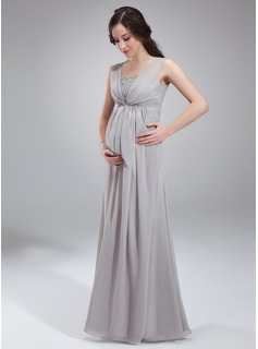 Empire Square Neckline Floor-Length Chiffon Maternity Bridesmaid Dress With Ruffle Beading (045004412)