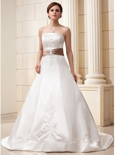 A-Line/Princess Strapless Court Train Satin Wedding Dress With Embroidered Sash