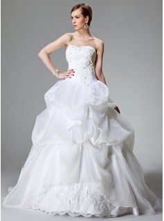 Ball-Gown Sweetheart Cathedral Train Organza Satin Wedding Dress With Lace Beadwork (002000423)