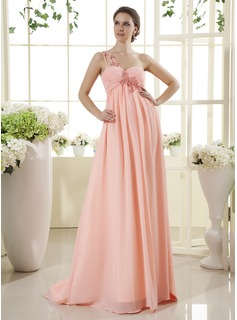 Empire One-Shoulder Sweep Train Chiffon Maternity Bridesmaid Dress With Ruffle Lace Beading (045022469)