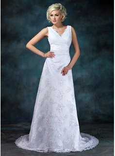 Empire V-neck Court Train Satin Lace Wedding Dress With Ruffle Beadwork (002000314)
