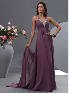 A-Line/Princess V-neck Watteau Train Chiffon Evening Dress With Ruffle Beading (017022755)