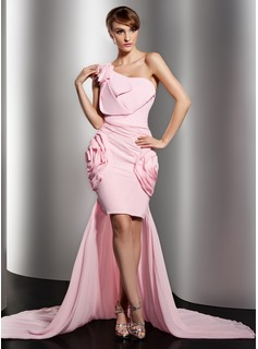 Sheath One-Shoulder Asymmetrical Chiffon Prom Dress With Ruffle Flower(s) (018014516)