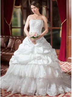 Ball-Gown Sweetheart Chapel Train Taffeta Organza Wedding Dress With Ruffle Lace Beading