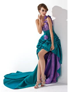 A-Line/Princess One-Shoulder Asymmetrical Taffeta Prom Dress With Ruffle Beading Flower(s)