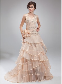 A-Line/Princess V-neck Sweep Train Organza Prom Dress With Ruffle Lace Beading Flower(s) (018018803)