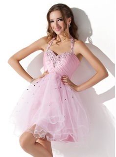 A-Line/Princess Halter Short/Mini Taffeta Tulle Homecoming Dress With Ruffle Beading Sequins (022008942)