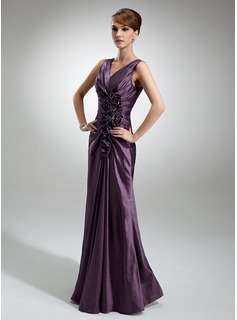 Sheath V-neck Floor-Length Taffeta Mother of the Bride Dress With Ruffle Flower(s) (008006196)