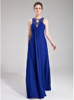 Empire Scoop Neck Floor-Length Chiffon Evening Dress With Ruffle Lace Beading