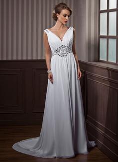 A-Line/Princess V-neck Court Train Chiffon Wedding Dress With Ruffle Beading