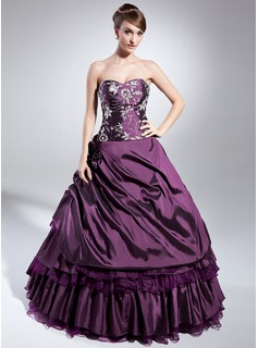 Ball-Gown Sweetheart Floor-Length Taffeta Organza Quinceanera Dress With Embroidered Beading Sequins (021014982)