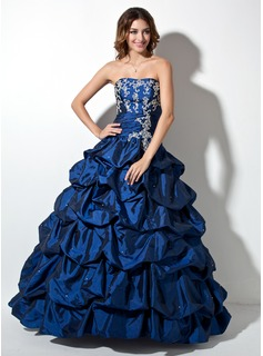 Ball-Gown Sweetheart Floor-Length Taffeta Quinceanera Dress With Ruffle Lace Beading (021003138)