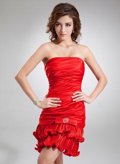 Vestido tubo Estrapless Corto/Mini Charmeuse Baile de promoción con Bordado Lazo(s) Plisado