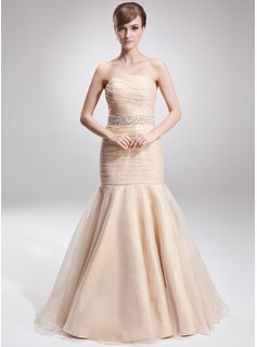Mermaid Strapless Floor-Length Organza Prom Dress With Ruffle Beading