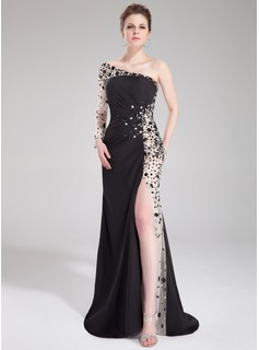 Sheath One-Shoulder Sweep Train Chiffon Tulle Prom Dress With Ruffle Beading