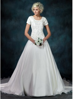 Ball-Gown Square Neckline Cathedral Train Satin Organza Wedding Dress With Embroidered Beading Sequins