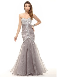 Mermaid Sweetheart Floor-Length Organza Prom Dress With Ruffle Beading