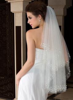 Dos capas Yema del dedo velos de novia con Corte de borde