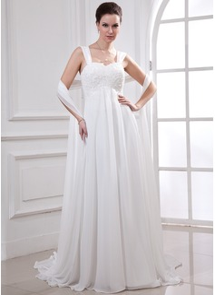 Corte imperial Escote corazón Cola watteau Chifón Vestido de novia con Encaje Bordado