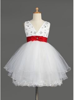 Empire V-neck Knee-Length Satin Tulle Flower Girl Dress With Lace Sash Beading Sequins Bow(s)