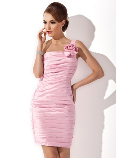 Sheath One-Shoulder Knee-Length Taffeta Cocktail Dress With Ruffle Flower(s) (016008637)