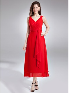 A-Line/Princess V-neck Ankle-Length Chiffon Bridesmaid Dress With Cascading Ruffles