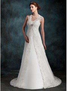 A-Line/Princess Scoop Neck Court Train Tulle Wedding Dress With Ruffle (002001296)