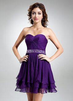A-Line/Princess Sweetheart Short/Mini Chiffon Cocktail Dress With Ruffle Beading