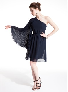 Sheath One-Shoulder Knee-Length Chiffon Cocktail Dress With Ruffle (016021170)