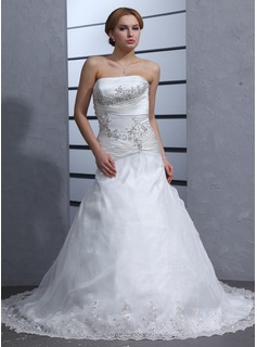 A-Line/Princess Strapless Chapel Train Organza Satin Wedding Dress With Ruffle Lace Beadwork (002000318)