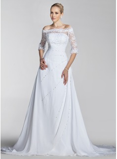 A-Line/Princess Off-the-Shoulder Court Train Chiffon Lace Wedding Dress With Beadwork Sequins (002004524)
