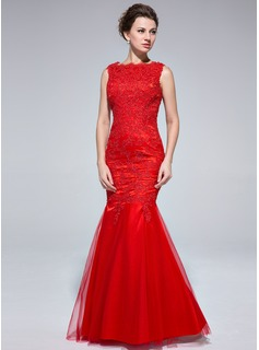 Mermaid Scoop Neck Floor-Length Tulle Evening Dress With Lace