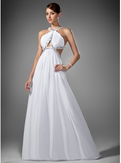 Empire Scoop Neck Sweep Train Chiffon Prom Dress With Ruffle Beading (018002320)