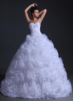 Corte de baile Escote corazón Vestido Organdí Vestido de novia con Volantes Bordado